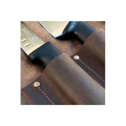Artisan Knife Roll leather closeup