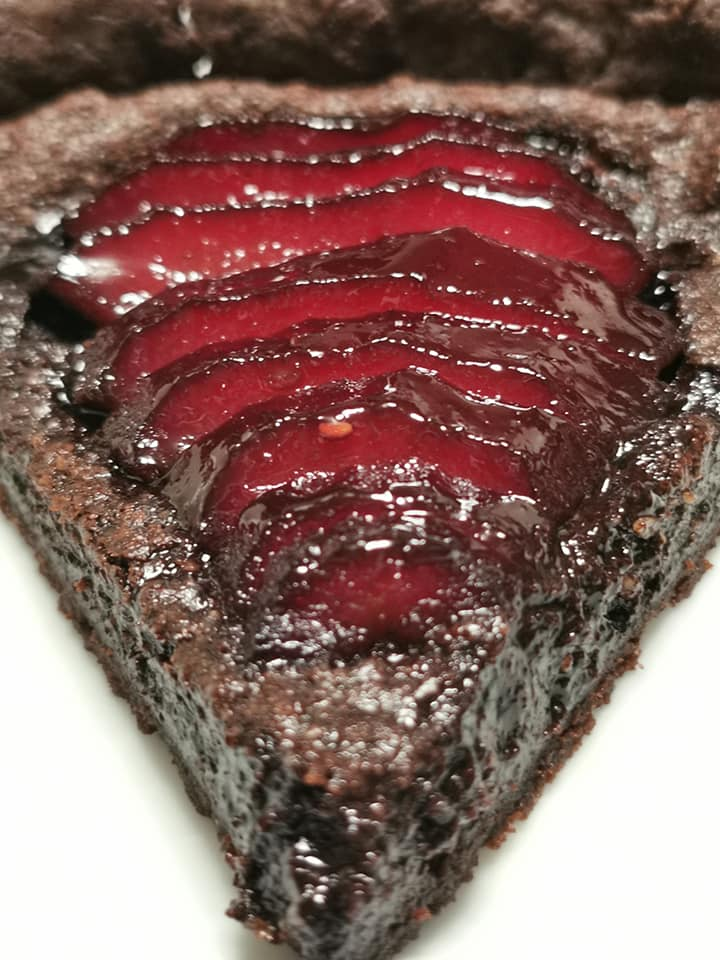 Z Grills Chocolate Tarts with Raspberry poached pears