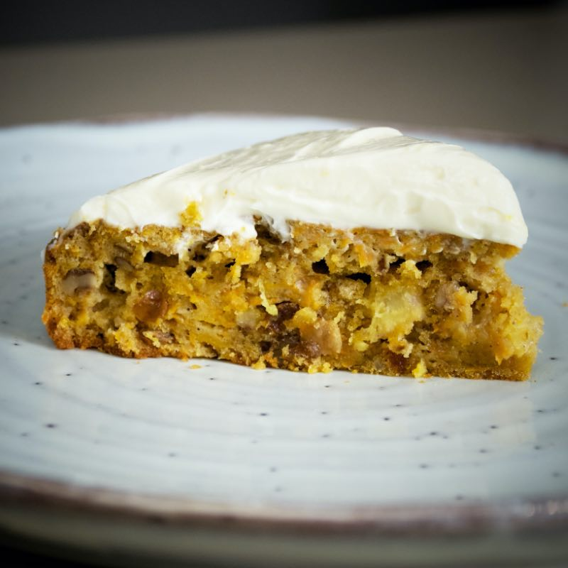 Carrot cake baked on Z Grills wood pellet smoker grill