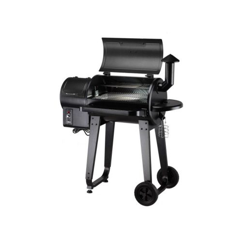 Side view of the Z Grills 450A Pellet Smoker with the lid open