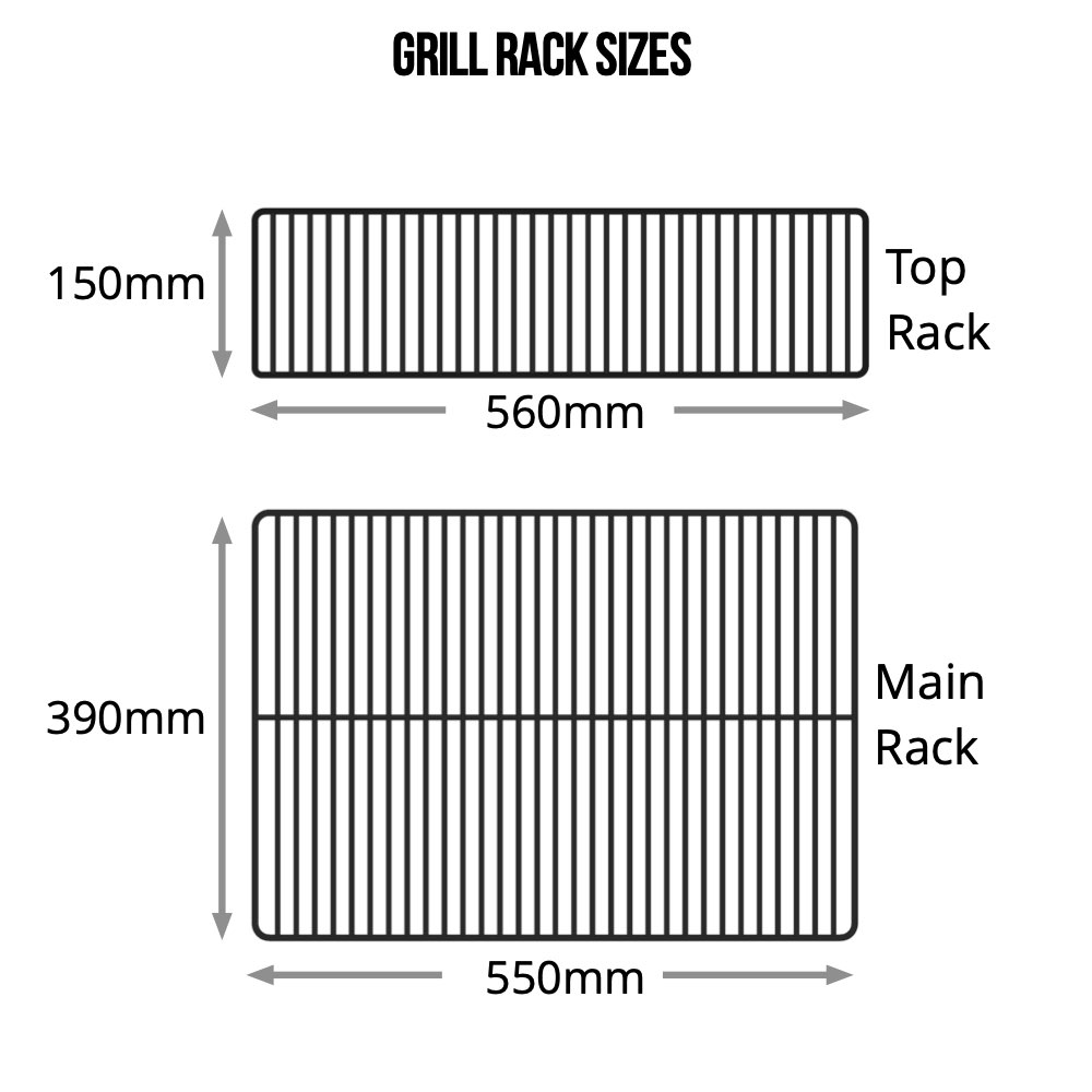 The dimensions of the top and bottom rack of the Z Grills 450A pellet smoker
