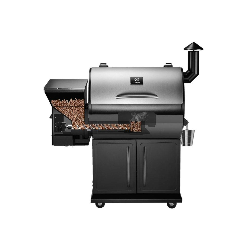 Front view of the Z Grills 700E Pellet Smoker with cutaway showing the inner workings
