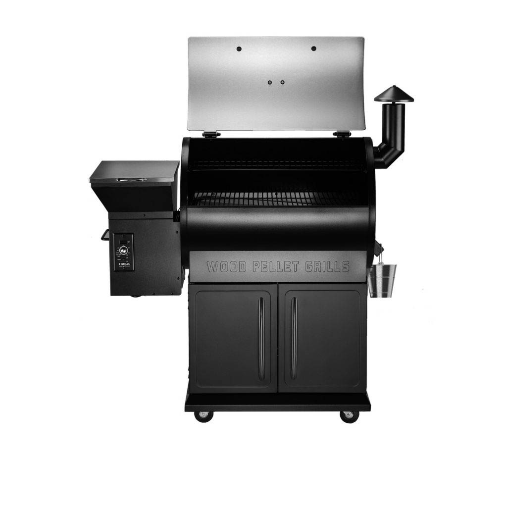 Front view of the Z Grills 700E Pellet Smoker with grilling chamber lid open
